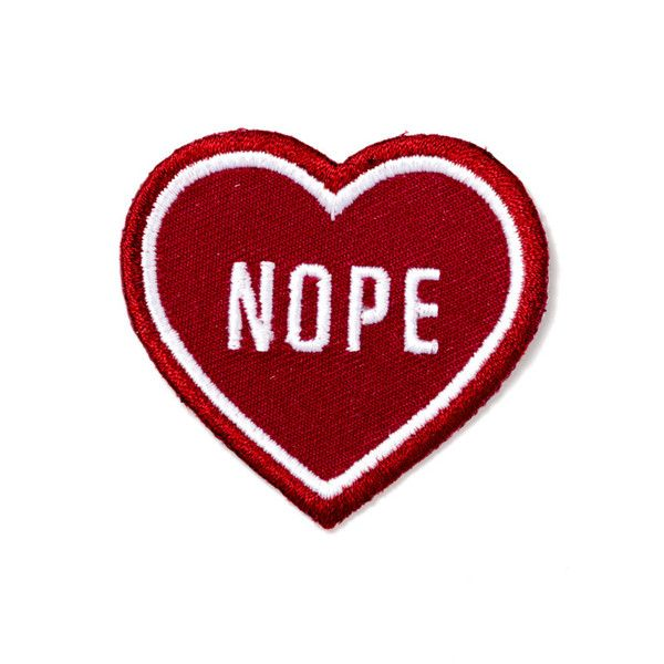 "For that special person in your life Embroidered patch on burgundy cotton twill Iron-on adhesive backing Measures 2"" tall x 2"" wide"