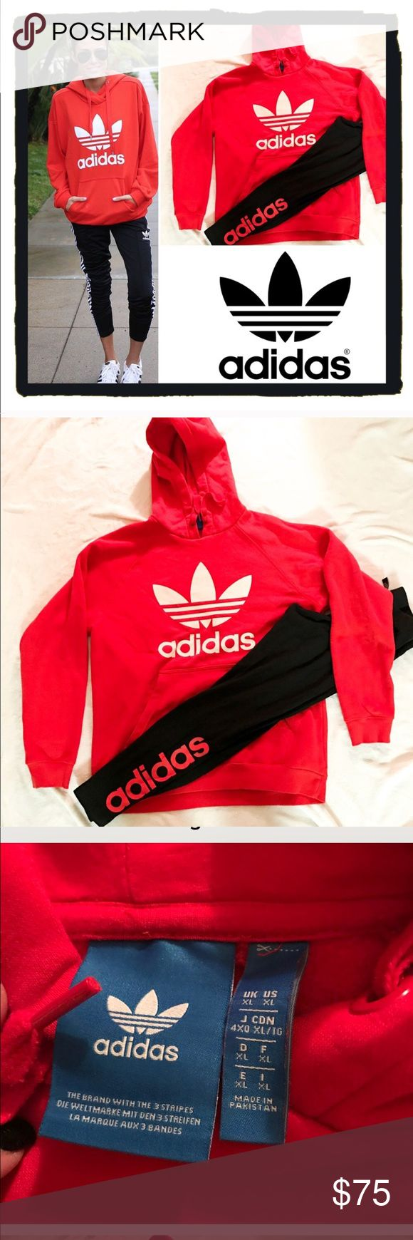 """Set of adidas leggings and sweatshirt Is an xl but as you can see it fits smaller as adidas do they run smaller more like a medium or smaller large (I'm 5'8"""" 140lbs 36 small c /b cup)  ! Adidas Trefoil sweat outfit running workout bright red reddish orange long sleeved soft top white logo black n matching logo color leggings ! Used but in excellent condition still soft on inside Graphic sweatshirt hoody hooded shirt . Pants are a small/medium leggings . Have listed under multiple sizes for…"""