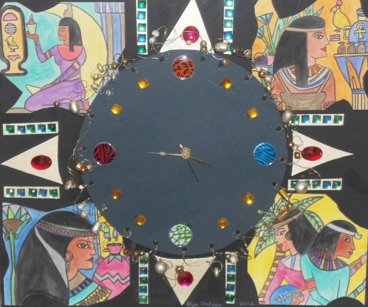 Ancient Egyptian Clock--mat board, clock parts,wire, beads acrylic gemstones,metalic markers, markers, embellishments