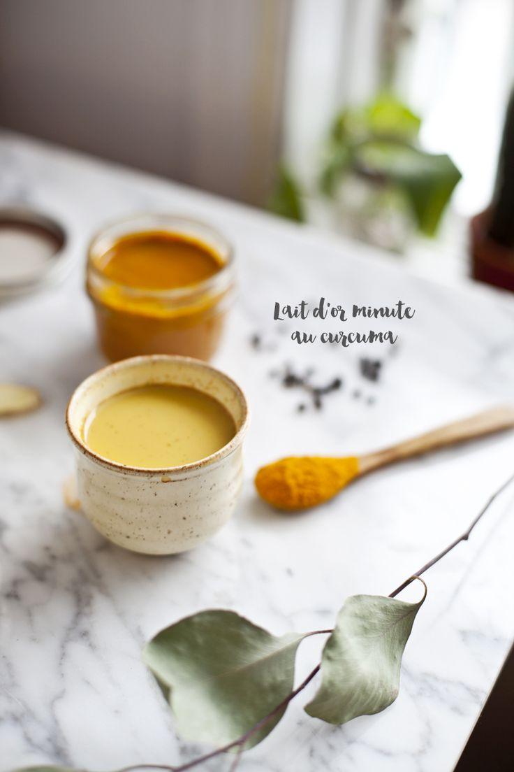 Lait d'or : curcuma, poivre noir, gingembre frais, lait végétal, miel ou sirop d'érable #curetonfoie