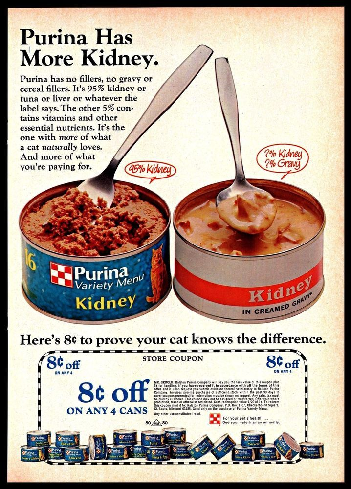 1974 Purina Canned Catfood Pets Store Coupon Vintage 1970s Photo Print Ad Purina Food Ads Canned Food Food Store