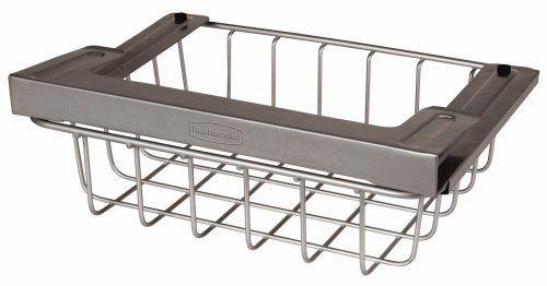 rubbermaid 1h32 under shelf slide out storage basket by. Black Bedroom Furniture Sets. Home Design Ideas