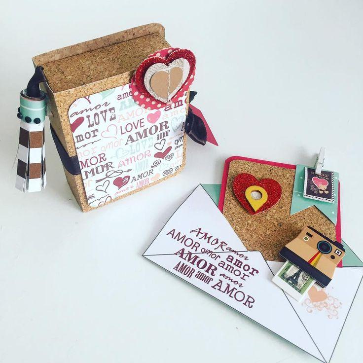 mini caixa para fotos e cartão tema dia dos namorados - papel textura cortiça , folha decorada by Flavia terzi e adesivos