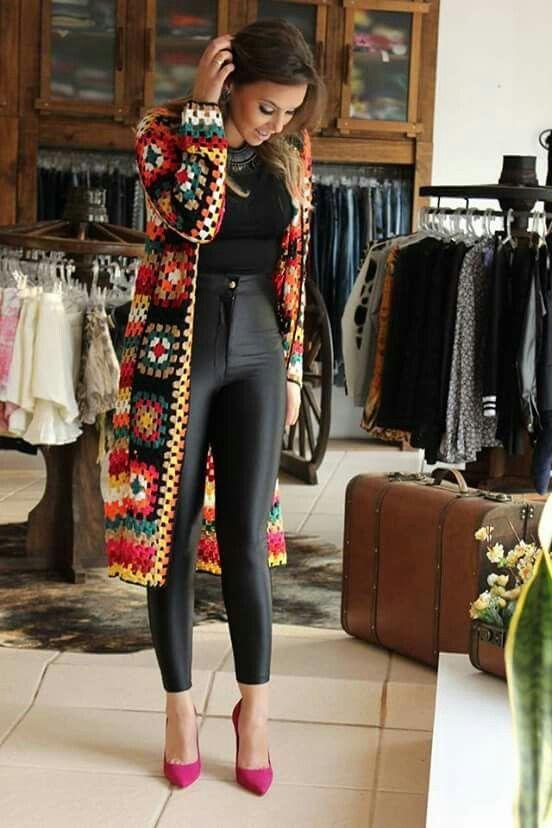 A avó esquadra o teste padrão do casaco de lã (traba t-shirt de <br> Entrega Rápida?  Coisas bonitas do Crochet