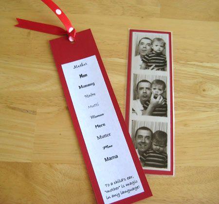 Geschenkidee zum Muttertag basteln lesezeichen familienfoto