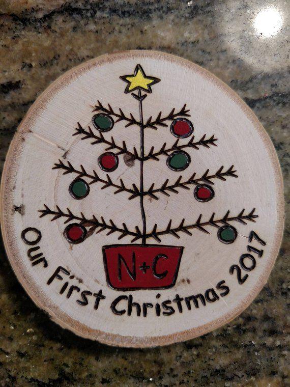 Our First Christmas Wood Burned Christmas Ornament Great Etsy Diy Christmas Ornaments Christmas Ornaments Christmas Wood