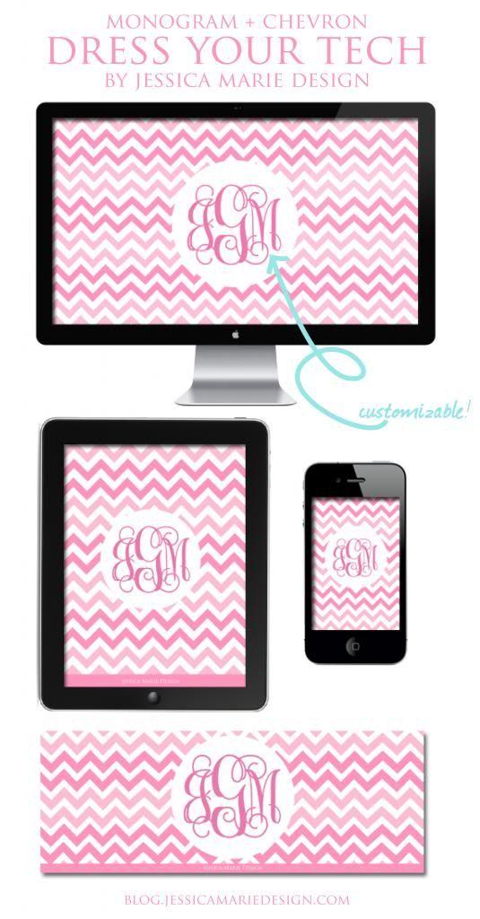 Dress Your Tech: Free Pink Chevron + Monogram Wallpapers