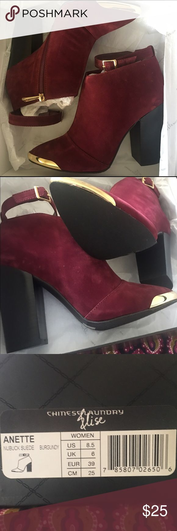 Chinese Laundry Annette Heel Burgundy suede with strap. Never worn. Chinese Laundry Shoes Heels
