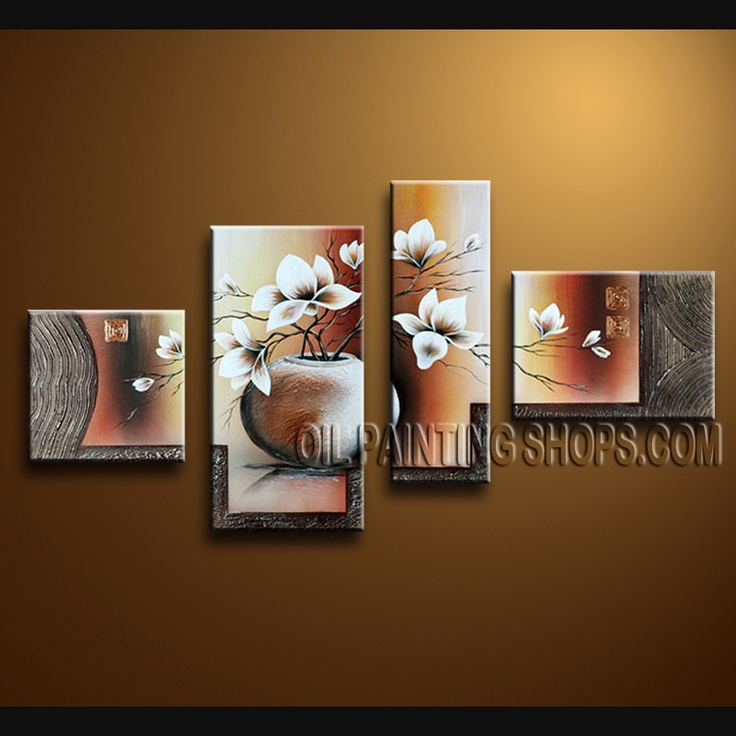 Beautiful Contemporary Wall Art Oil Painting On Canvas For Bed Room Tulip Flower. This 4 panels canvas wall art is hand painted by Bo Yi Art Studio, instock - $145. To see more, visit OilPaintingShops.com