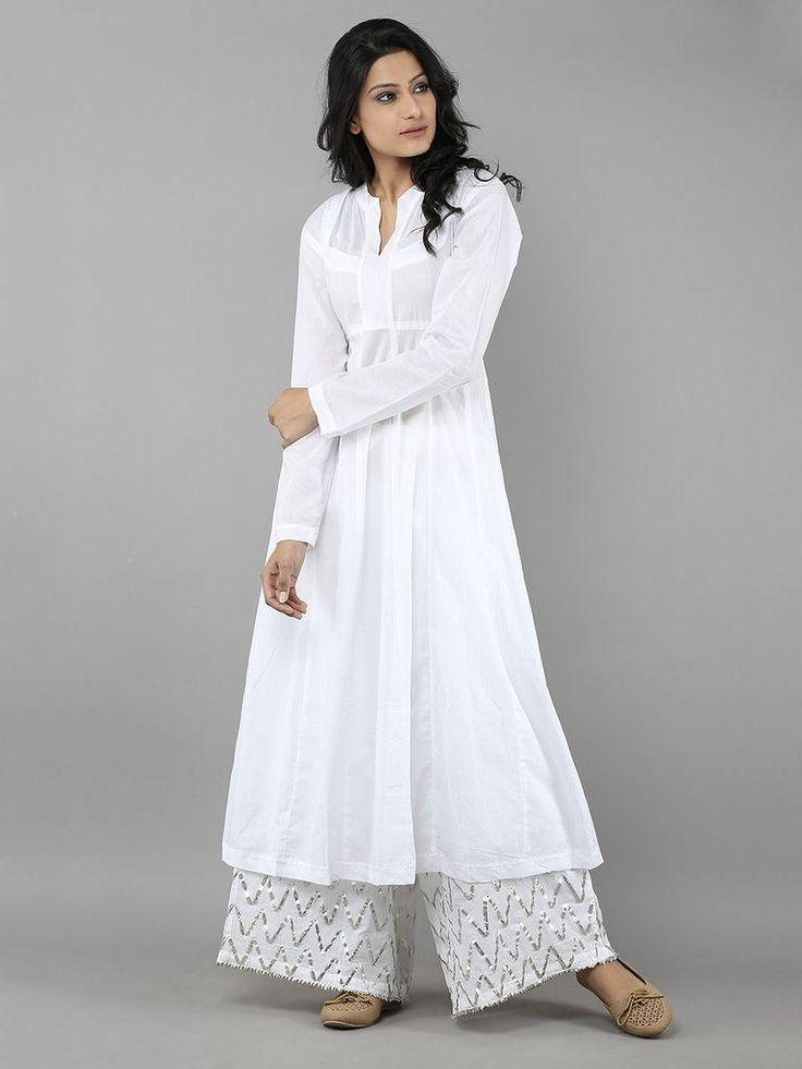 White Cotton Mul Rajasthani Neckline Kurta