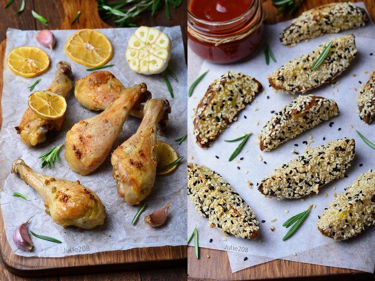 Куриные ножки с лимоном и чесноком и картофель в кунжутной панировке - О ВКУСНОМ...