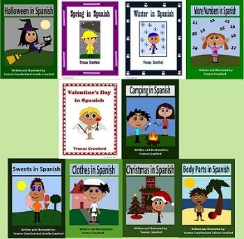 This is a bundle of 10 Spanish Booklets to help your students learn Spanish. Included are: Spring in Spanish, Body Parts in Spanish, Sweets i...