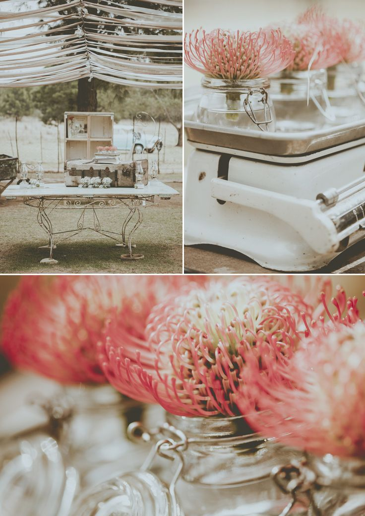Coral colour flowers @ Christoff  Cornelia's wedding - stunning photo's by Blackframe Photography, Decor by Love  Grace done at Imperfect Perfection wedding venue.