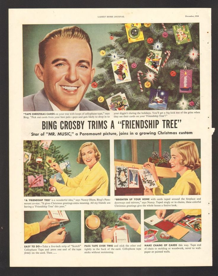 Advintage Plus - 1950 Print Advertisement Scotch Cellophane Tape Bing Crosby Christmas Friendship Tree, $9.99 (http://www.advintageplus.com/1950-print-advertisement-scotch-cellophane-tape-bing-crosby-christmas-friendship-tree/)