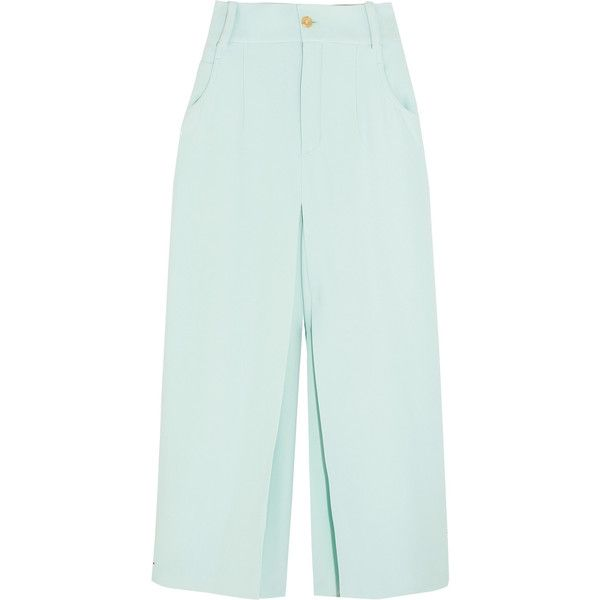 Chloé Pleated crepe culottes ($1,195) ❤ liked on Polyvore featuring pants, mint, mint green pants, crepe pants, pleated trousers, chloe pants and tailored trousers