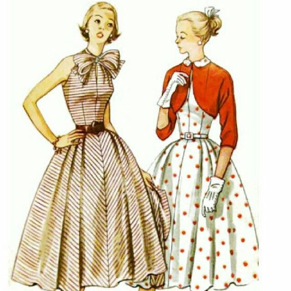 Check out this item in my Etsy shop https://www.etsy.com/listing/210072995/vintage-1950s-dress-pattern-peter-pan-or-tie-collar-dress-1952-Simplicity-3858