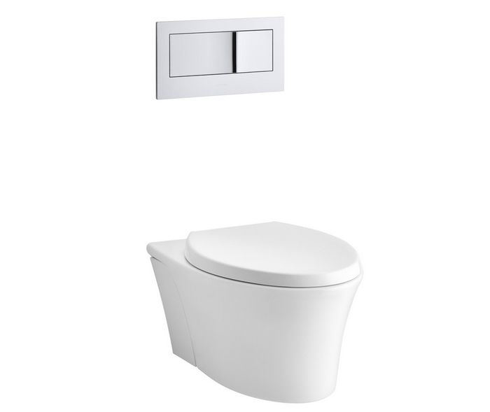 Kohler Veil Wall-Hung-Toilet - saves space because the tank is hidden in the wall. Perfect for small bathrooms.
