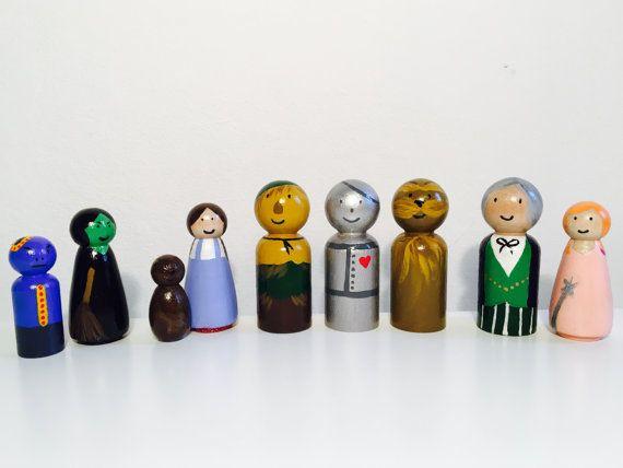 The Wizard Of Oz - houten Peg Dolls - Hand geschilderd - Waldorf Toys - geschenken - houten poppen - Waldorf Geïnspireerd - Homemade - Over the Rainbow