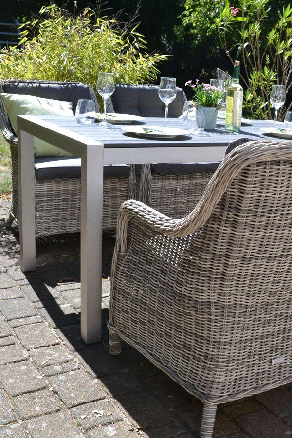Sitzgruppe Miami 150x90cm Mit 4 Sesseln Grau Polster Grau