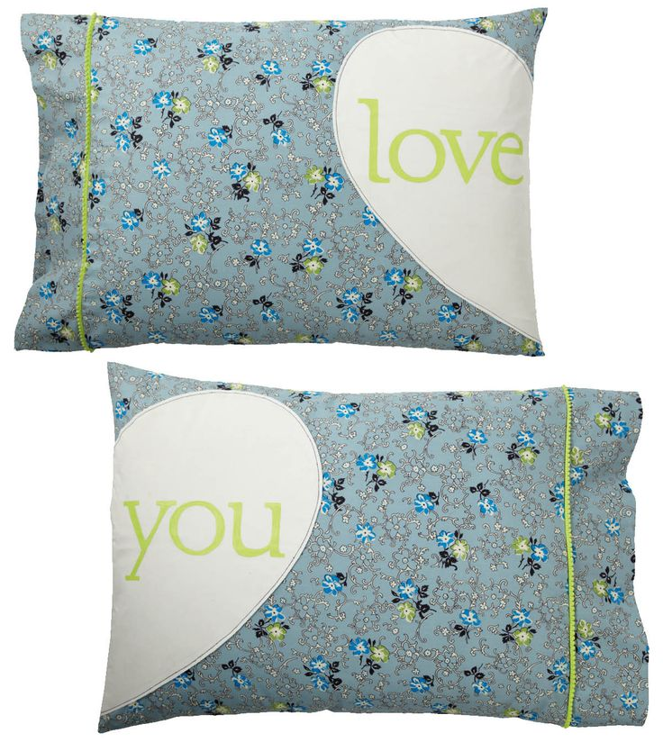 """""""Love You"""" pillow cases."""
