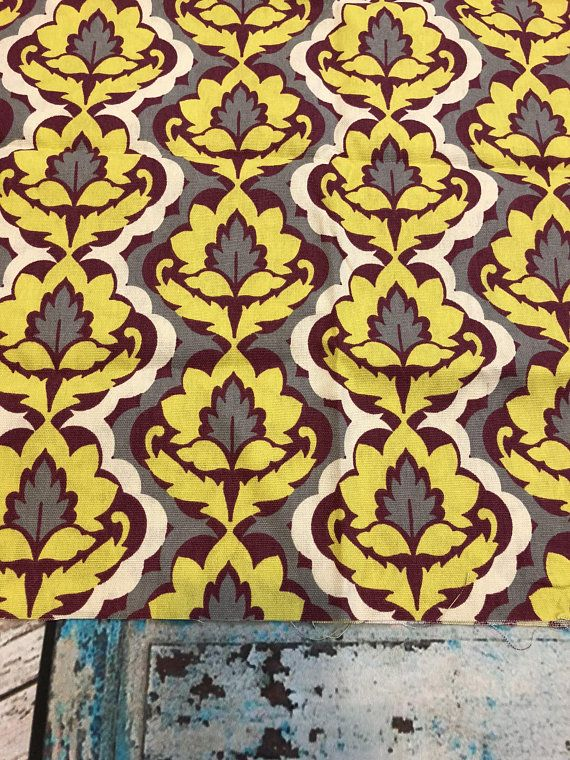 Brother Sister Design Studio Floral Yellow Gray Maroon Fabric