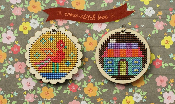Danielle Thompson's cross stitch pendants