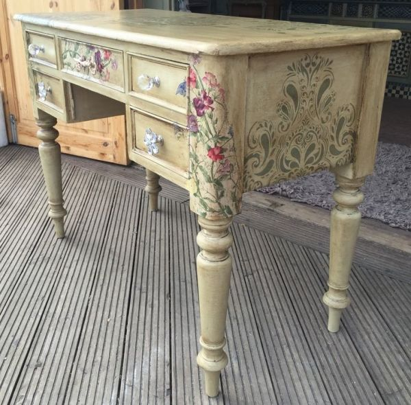 All finished and off to its new home as a writing desk Painted in Annie Sloan Versailles, stencilling in Everlong Olive Branch, sweet pea decoupage, finished with clear and dark wax. by marcia