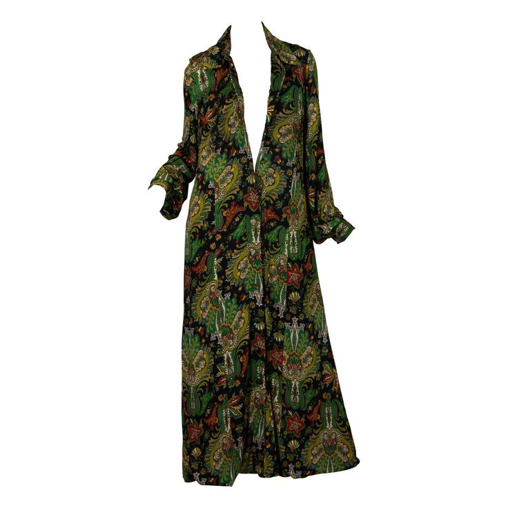 1970s Italian Silk Jersey Paisley Coat from Fiandaca Couture | From a collection of rare vintage coats and outerwear at https://www.1stdibs.com/fashion/clothing/coats-outerwear/