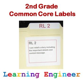 2nd Grade Common Core Labels - These are editable color coded file labels with a simple abbreviated numbering system to help organize your common core materials. $ #2ndGradeCommonCore
