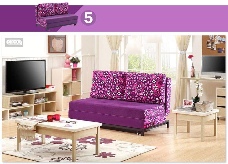 Небольшой фиолетовый диван с раскладным механизмом в яркую гостиную можно купить в магазине https://lafred.ru/catalog/catalog/detail/22133627600/