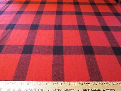 Tartan plaid wool fabric red and black by the yard x