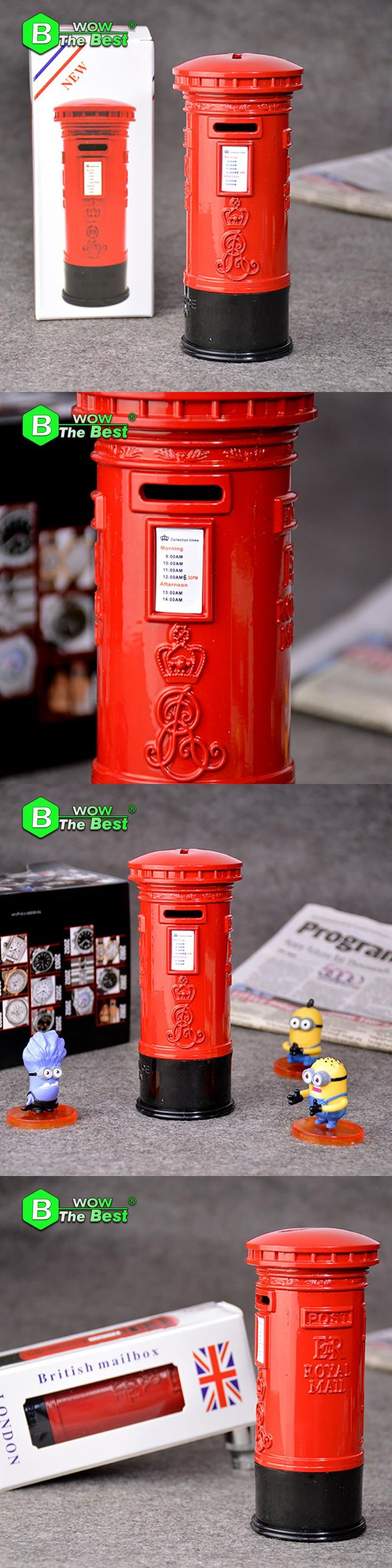 1pc 14.5*5.5cm Red Mailbox Metal Model Money Boxes Home Decoration Room Crafts Decoration Piggy Bank Creative Gift Money Bank