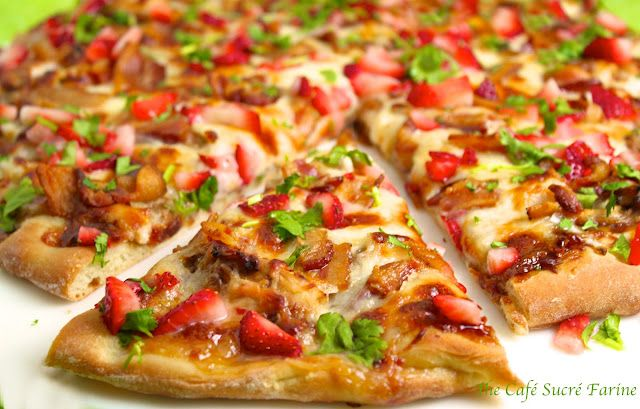 strawberry. balsamic. pizza. and! it has bacon.