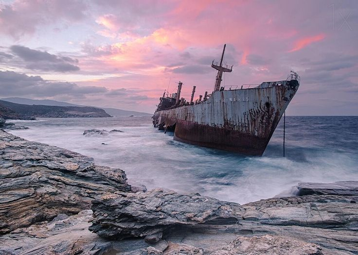 Abandoned cargo ship on the coast of Andros, Greece