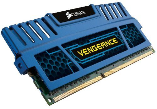 Corsair Vengeance Blue 4GB (1x4GB) DDR3 1600 MHz (PC3 12800) Desktop Memory (CMZ4GX3M1A1600C9B). CORSAIR high performance Vengeance memory module 4GB (1x4GB) 1600MHz 9-9-9-24, 1.5V for motherboards using AMD, Intel dual channel processors and upcoming 2nd Generation Intel Core platforms. Pin Out: 240-pin. Vengeance memory modules provide users with outstanding memory performance and stability. Speed: 1600mhz. Voltage: 1.5v. Timing: 9-9-9-24. Each module is built using carefully...