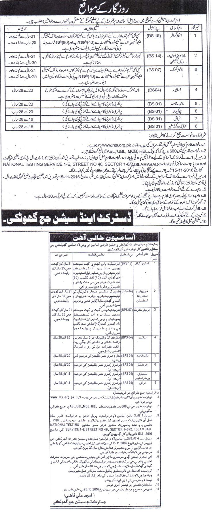 Jobs in District and Session Court Ghotki 01 Nov 2016