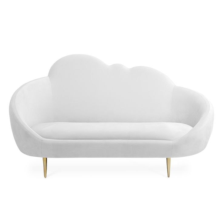 Heaven Sent.The Ether Settee has a simple genesis story: JA wanted to create a settee that looks and feels like heaven. The chic cloud silhouette and lozenge-like form are enveloping and inviting, while gleaming brass stiletto legs project posh presence. Ethereal yet edgy, it's upholstered in glistening Bergamo Snow upholstery for maximum other-worldly elegance. Low and loungey, and très comfortable.