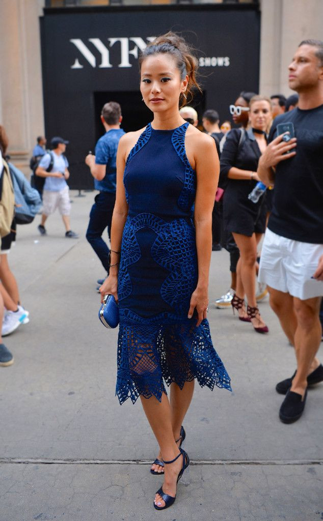 Jamie Chung from Best Celeb Street Style From NYFW Spring 2017  Spring/summer wedding attire PERFECTION.