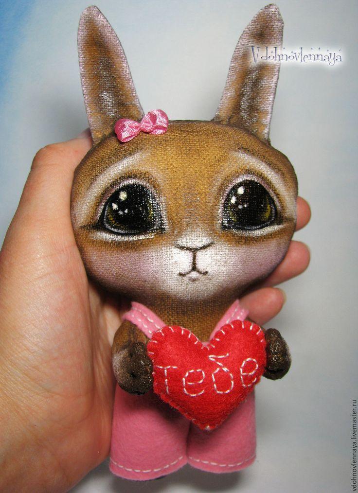 Валентинка зайка Маня - я дарю тебе свое сердечко... - комбинированный, коричневый, розовый