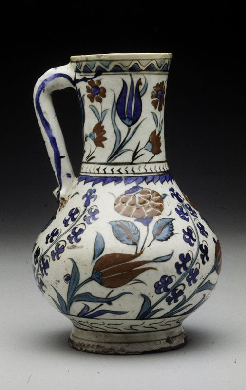 Pitcher 16th century  Artist Unknown (Turkey, Europe)  Iznik ware Earthenware with underglaze decor in blue, green and red