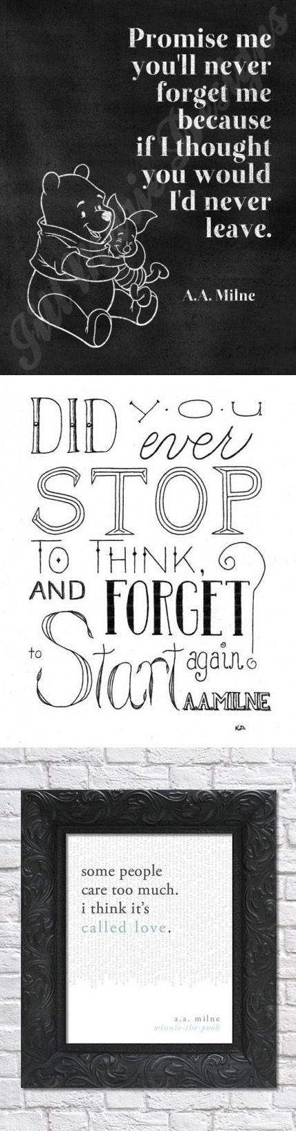 TheRetroInc on Etsy Famous quotes by A.A. Milne, author of Winnie the Pooh.