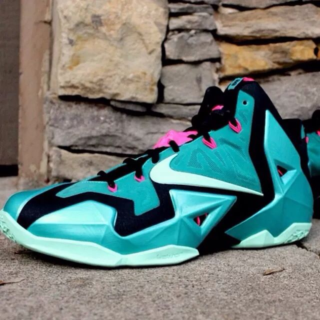 new style d6ce8 3b37c Shop Cheap Nike Lebron 11 iD Pink Black Green