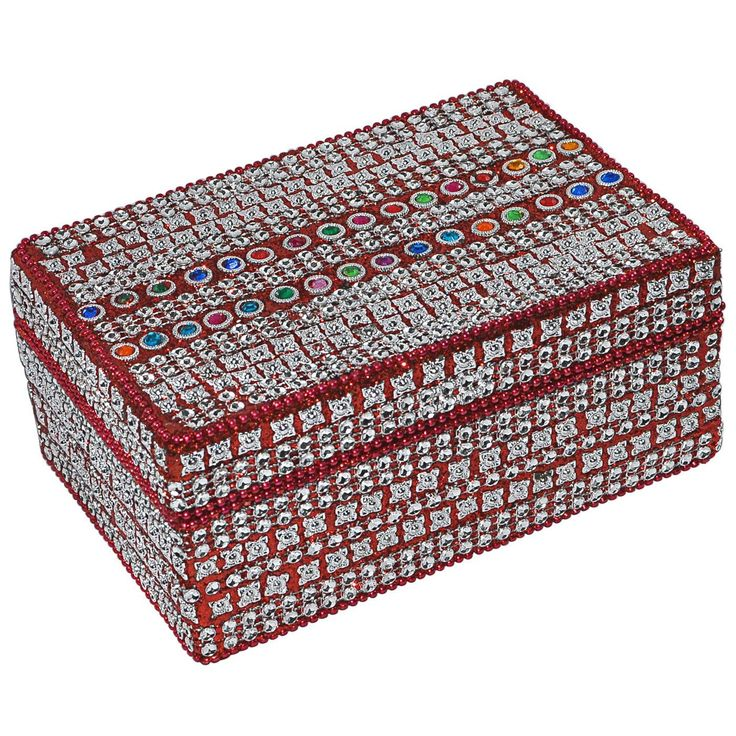 Red Vibrant Handmade Jewelry Box: Amazon.co.uk: Kitchen & Home