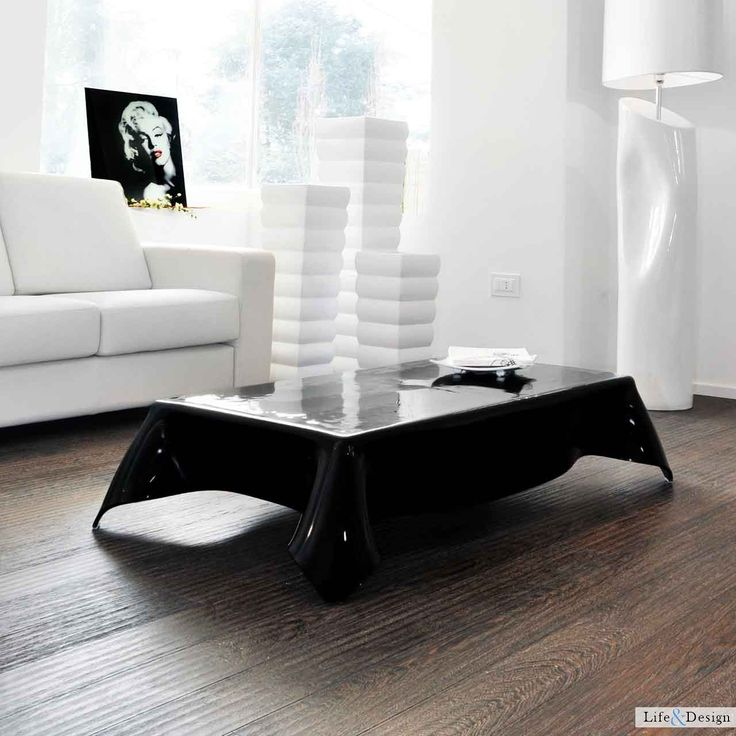 Black: Tavolino Salotto Rettangolare Verniciato Gambe Vetro Curvato | LD Arredamento