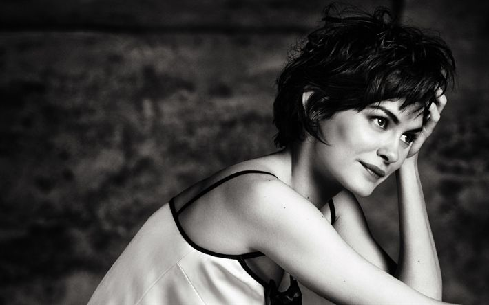 Download wallpapers Audrey Tautou, French actress, photoshoot, 4k, monochrome photo, portrait