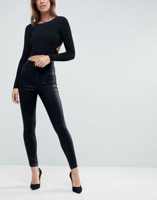 740087c0bd0 DESIGN Rivington high waist denim jeggings in black coated