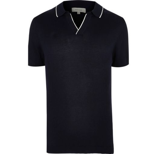 Checkout this Navy tipped revere collar slim fit polo shirt from River Island