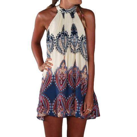 Halter Style Sleeveless Beach Party Dress - Medium