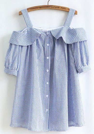 Blue White Plaid Off The Shoulder Blouse pictures