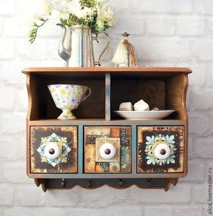 Wooden shelf / Мебель ручной работы. Ярмарка Мастеров - ручная работа. Купить Полка с ящичками. Handmade. Тёмно-бирюзовый, мебель в стиле прованс